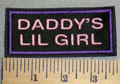 2471 L - Daddy's lil Girl - Purple Border - Embroidery Patch