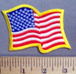 757 S - Waving American Flag - Yellow Border -  Embroidery Patch