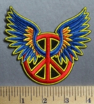 758 N Peace Sign With Angel Wings - Embroidery Patch