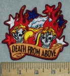 3535 N - Death From Above - American Eagle With Skulls In Claws - Flames - Embroidery Patch