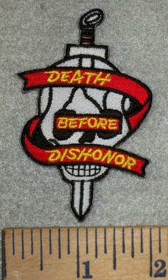 3174 N - Death -  Before -  Dishonor - Dagger Thru Skull Face - Embroidery Patch