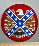 2322 R - Confederate Flag With Eagle - Round - Back Patch - Embroidery Patch