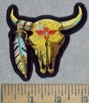 3537 N - Desert Skull With Feather - Embroidery Patch