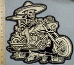 2568 G - Desert Skullman Riding Bike -Back Patch - Embroidery Patch