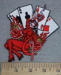 3415 N - Devil Chick With Four Ace Spread - Embroidery Patch