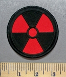 1595 W - Red Nuclear Radiation Symbol - Embroidery Patch