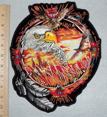 3093 N - Dream Catcher With Eagle - Back Patch - Embroidery Patch