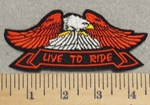 3018 W - Eagle With Banner - Live To Ride - Embroidery Patch