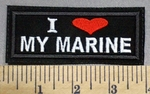1787 L - I (Heart) My Marine - Red Heart -  Embroidery Patch