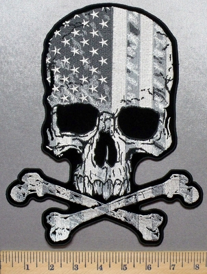 3269 G - Subdued American Flag Skull With Crossbones - Back Patch - Embroidery Patch