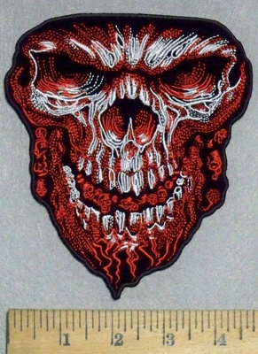 3549 N - Evil Skull Face With Weblike Beard And Mini Skulls In Mouth - Red  - Embroidery Patch