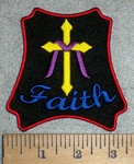 3374 W - FAITH -  With Cross - Embroidery Patch