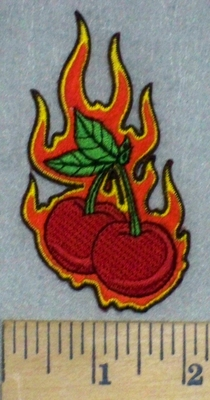 3463 N - Flaming Cherries - Embroidery Patch