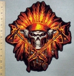 2571 G - Flaming Chief Headdress With Skull Face - Back Patch - EMbroidery Patch