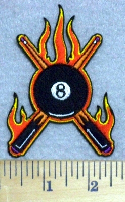 3302 N - Flaming Eight Ball With Pool Sticks - Embroidery Patch