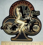 2010 N - Milwaukee Vibrator - Club Shaped With Bike Chick On Motorcyle  Back Patch - Embroidery Patch