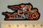 2443 N - Flaming Skullman Riding Motorcycle - Embroidery Patch
