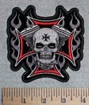 2597 G - Flaming V- Twins Skullface and Chopper Logo - Embroidery Patch