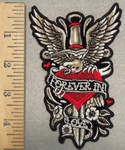 2844 G - Forever In Love - Red Heart With Dagger - Eagle And Flowers - Embroidery Patch