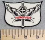 3000 N -  Forgiven Waving Banner - Cross With Angel Wings - Embroidery Patch