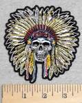 2911 G - Full Head Dressed Skull Face Indian - Embroidery Patch