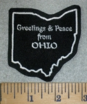 3170 L - Greeting & Peace From Ohio - Outline Of State - White - Embriodery Patch