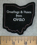 3171 L - Greetings & Peace From Ohio - Outline Of State - Brown - Embroidery Patch