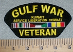 2614 W - Gulf War Veteran - Kuwait Service Liberation Combat - With Rank Stripe - Embroidery Patch