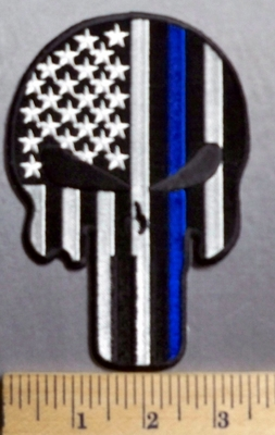 731 Punisher - Blue Line - Black And White American Flag - 5 Inch -  Embroidery Patch