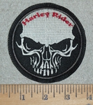 3107 L - Harley Rider With Skullface - Round - Embroidery Patch
