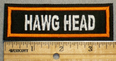 2237 L - Hawg Head - Orange Border - Embroidery Patch