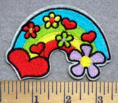 3303 C - Heart And Flowers With Rainbow - Embroidery Patch