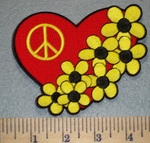 2461 N - Heart With Yellow Daisies And Peace Sign - Embroidery Patch