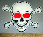 1827 S - Red Eyed Skull Face With Crossbones - White - Back Patch - Embroidery Patch
