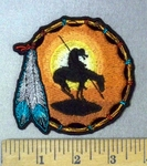 1828 CP - Dreamcatcher With Indian On Horse - 2 Feathers - Round - Embroidery Patch