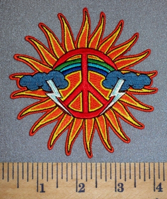 327 N - Sun With Clouds, Lightning And A Rainbow - Embroidery Patch