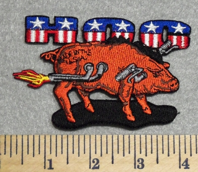 2942 N - HOG With Tailpipes - Embroidery Patch