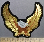 765 S - Gold Eagle - 8 Inch Wing Spand -  Embroidery Patch