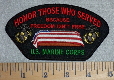 2812 W - Honor Those Who Served - US Marine Corps - American Flag Over Coffin - Embroidery Patch