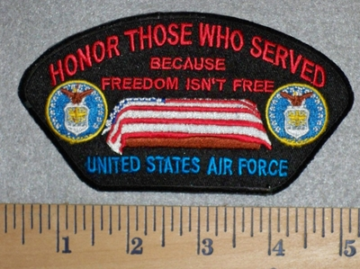 2803 W - Honor Those Who Served - Air Force - American Flag Over Coffin - Embroidery Patch
