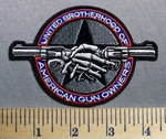734 G - United Brotherhood Of American Gun Owners - Skull Hand Shake With Arms As Piistols - Embroidery Patch Embroidery Patch