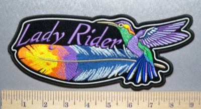 2835 CP - Colorful Feather And Hummingbird  - Back Patch - Embroidery Patch
