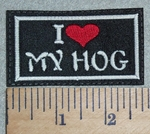 3021 L - I Love My Hog - Red Heart - Embroidery Patch