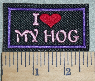 3052 L - I Love My Hog - Red Heart - Purple - Embroidery Patch