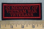 3161 L - In Memory Of  Vietnam War Veterans - Red - Embroidery Patch