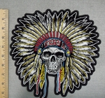 2861 G - Indian Chief With Full Headress - Skull Face - Back Patch - Embroidery Patch