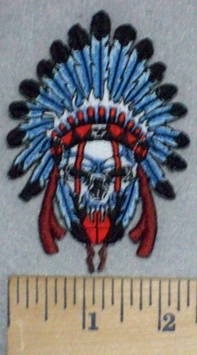 3465 N - Indian Skull Chief With Blue Feather Head Dress - Embroidery Patch