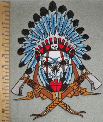 3379 N - Indian Skull Chief With Full Headress And Axe - War Cry - Back Patch - Embroidery Patch
