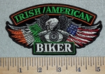 3089 G - Irish Flag/American Flag Biker Eagle Wings With V-Twin Engine -Embroidery Patch