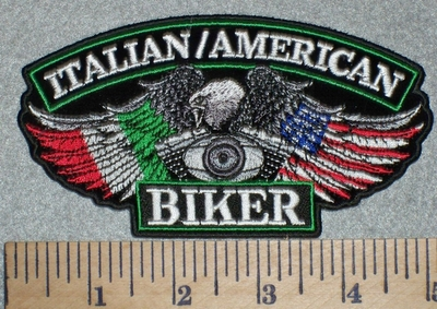 2660 G - Italian Flag/American Flag Biker Eagle Wings With V-Twin Engine -Embroidery Patch